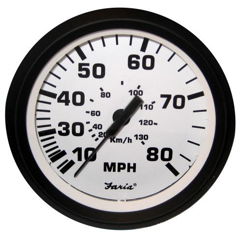 "Faria 4"" Speedometer - 80MPH (Mechanical) - Euro White"