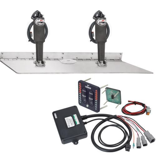 """Lenco 16"""" x 24"""" Dual Actuator Super Strong Trim Tab Kit w\/LED Indicator Switch Kit 12V"""