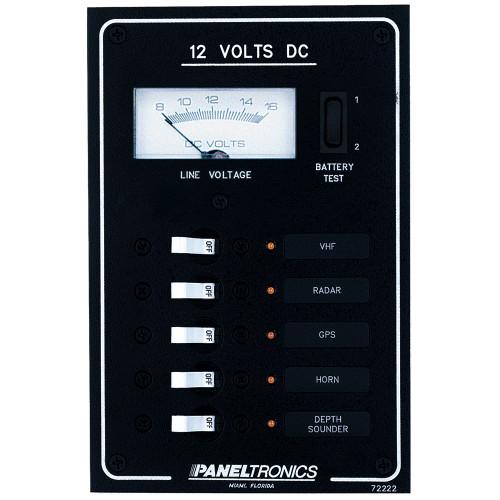 Paneltronics Standard DC 5 Position Breaker Panel & Meter w\/LEDs