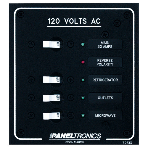 Paneltronics Standard AC 3 Position Breaker Panel & Main w\/LEDs