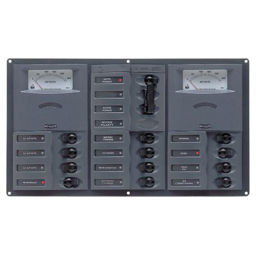 BEP AC Circuit Breaker Panel w\/Analog Meters, 12SP 2DP AC230V Stainless Steel Horizonal