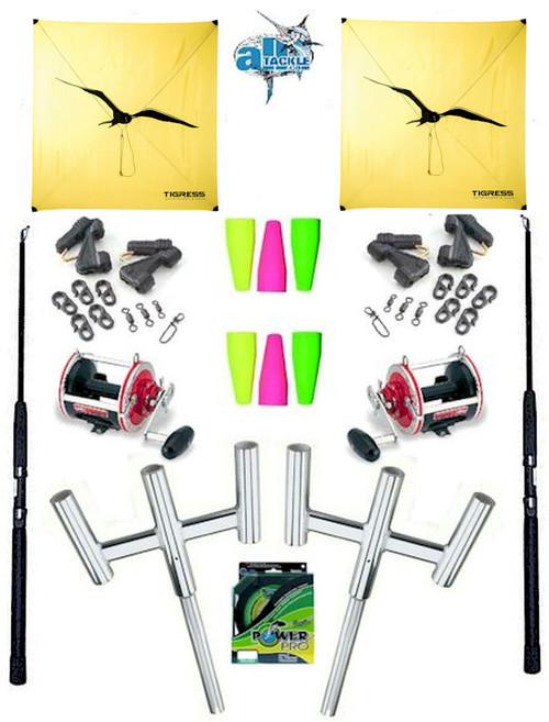 Alltackle Kite Kit w/ Dual Trident Rod Holders and Kite Combos