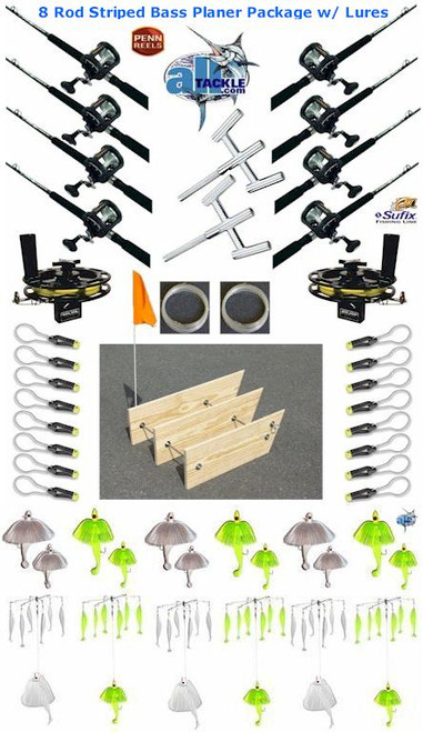 Alltackle Striped Bass Planer Board 8-Rod Package w/ Lure Kit