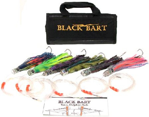 Black Bart Tuna/Dolphin Rigged Lure Pack Single Hooks/Fluoro