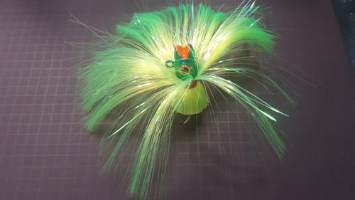 Bloody Pt Baits Chomper 7oz Lime Hair/Lt Green Head