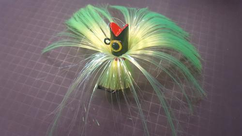 Bloody Point Baits Chugger 5oz Lime Hair/Purple Head