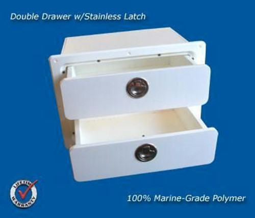 Deep Blue Marine Double Drawer White - 2-4 weeks lead time