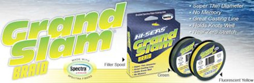 Hi Seas Grand Slam Braid 1200 yds Hi Vis Yellow Test: 20