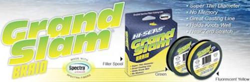 Hi Seas Grand Slam Braid 1200 yds Hi Vis Yellow Test: 50
