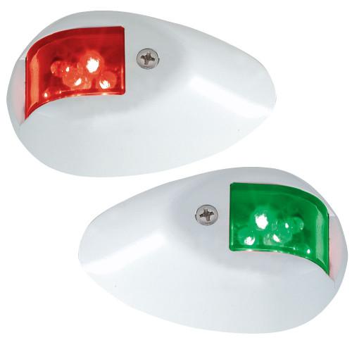 Perko LED Side Lights - Red\/Green - 12V - White Epoxy Coated Housing