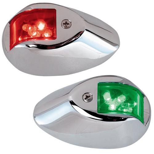 Perko LED Side Lights - Red\/Green - 24V - Chrome Plated Housing