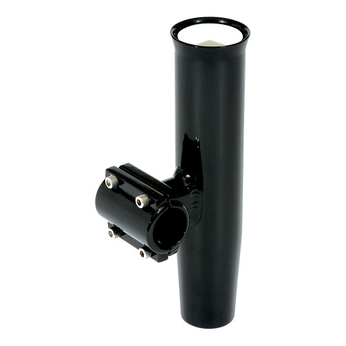 """Lee's Clamp-On Rod Holder - Black Aluminum - Horizontal Mount - Fits 1.660"""" O.D. Pipe"""