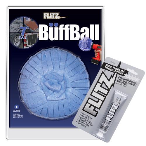"Flitz Buff Ball - Extra Large 7"" - Blue w\/1.76oz Tube Flitz Polish"