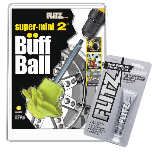 "Flitz Buff Ball - Super Mini 2"" - Yellow w\/1.76oz Tube Flitz Polish"