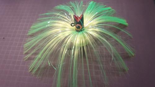 Bloody Point Baits Chugger 5oz Lime Hair/Black Head