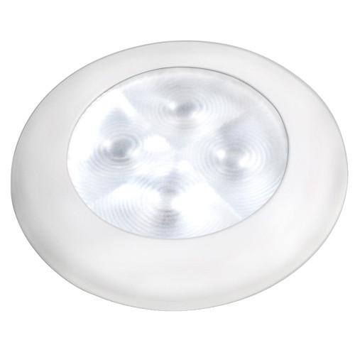 Hella Marine Slim Line LED 'Enhanced Brightness' Round Courtesy Lamp - White LED - White Plastic Bezel - 12V