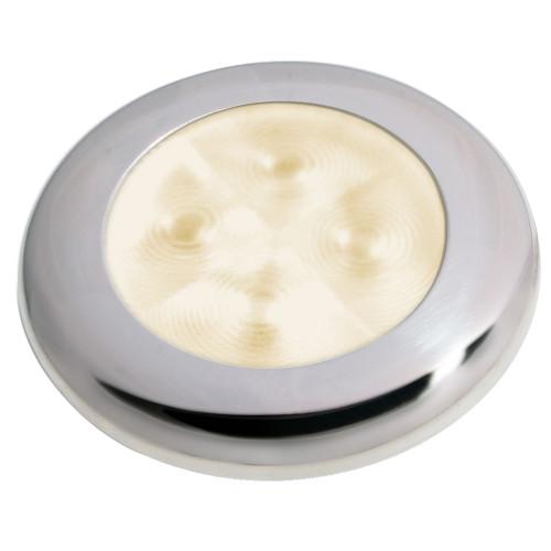 Hella Marine Slim Line LED 'Enhanced Brightness' Round Courtesy Lamp - Warm White LED - Stainless Steel Bezel - 12V