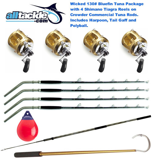 Alltackle Wicked 130# Blue Fin Tuna Package - 4 x Shimano Tiagra 130 Combos w/Harpoon and Gaff