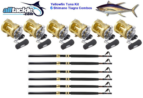 Alltackle 6 Combo Package - Shimano Tiagra 50# Reels, Rods and Line (ALLT50T6)