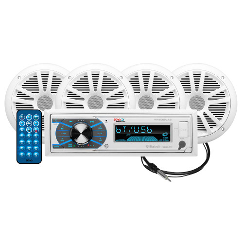 """Boss Audio MCK632WB.64 Package w\/MR632UAB AM\/FM CD Receiver; 2 Pair of 6.5"""" MR6W Speakers  MRANT10 Antenna"""