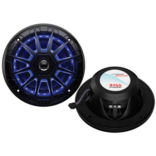 "Boss Audio MRGB65B 6.5"" 2-Way 200W Marine Full Range Speaker w\/RGB LED Lights - Black - Pair"