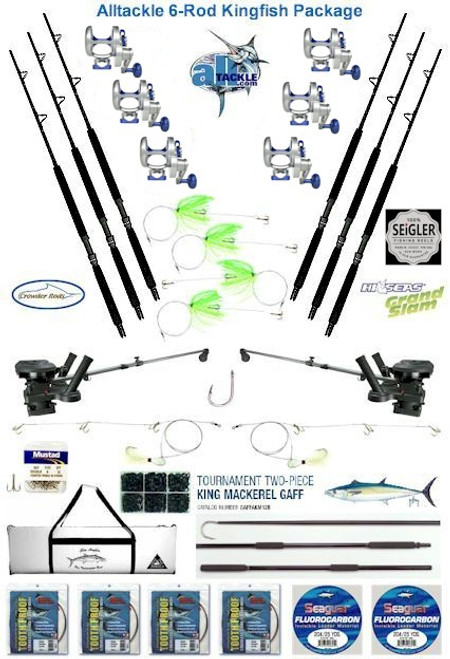 Alltackle Kingfish Package w/ 6 Seigler LG Reel /Crowder Rod Combos