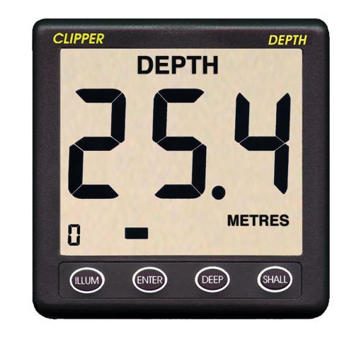 Clipper Depth Instrument w\/Thru Hull Transducer & Cover