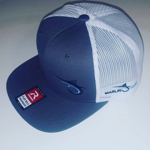Marlin Hook Flatbill Hat - Charcoal/White