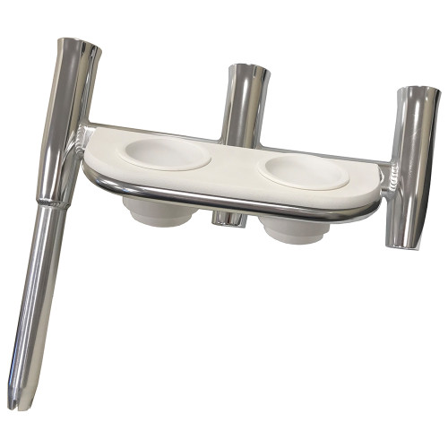 Tigress Offset Triple Rod Holder w\/Cup Holders - Starboard Side - Polished Aluminum