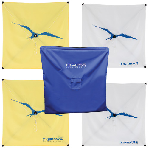 Tigress Kite Kit - 2-All Purpose Yellow, 2-Specialty White  Storage Bag