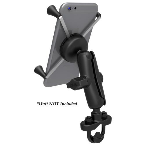 RAM Mount Handlebar Rail Mount w\/Zinc Coated U-Bolt Base  Universal X-Grip Large Phone\/Phablet Cradle