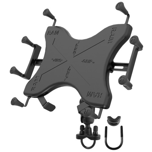 "RAM Mount Handlebar Rail Mount w\/Zinc Coated U-Bolt Base  Universal X-Grip Cradle for 10"" Large Tablets"