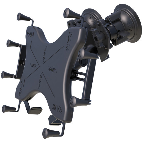"RAM Mount Dual Articulating Suction Cup w\/Medium Length Double Socket Arm  Universal X-Grip Cradle f\/12"" Large Tablets"