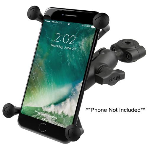 "RAM Mount RAM Torque 3\/8"" - 5\/8"" Diameter Mini Rail Base with 1"" Ball, Short Arm and X-Grip for Larger Phones"