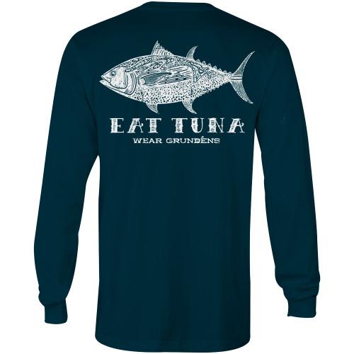 Grundens New Eat Tuna Long Sleeve T-Shirt - Deep Water Blue