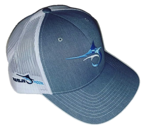 Marlin Hook Trucker Hat - Symbol - Gray/White