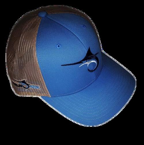 Marlin Hook Trucker Hat - Symbol - Columbia Blue/Tan