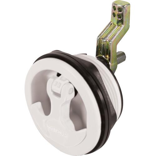 Whitecap Compression Handle Stainless Steel\/White Nylon Non-Locking - 1\/4 Turn