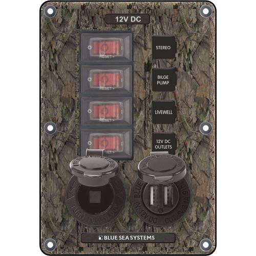 Blue Sea 4324 Circuit Breaker Switch Panel 4 Postion - Camo w\/12V Socket  Dual USB