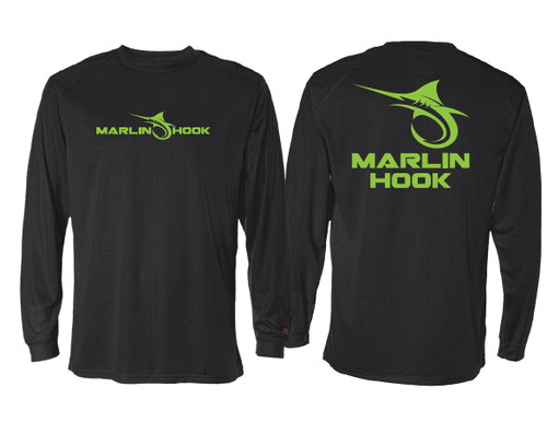 Marlin Hook Performance Shirt LS - Black/Green - Large