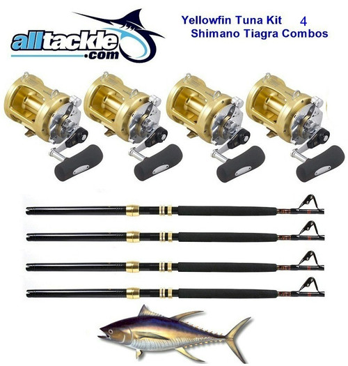 Alltackle 4 Combo Package - Shimano Tiagra 50# Reels, Rods and Line (ALLT50T4)