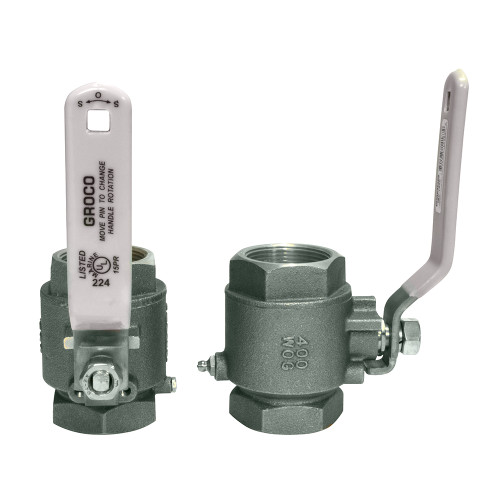 """GROCO 1-1\/2"""" NPT Stainless Steel In-Line Ball Valve"""