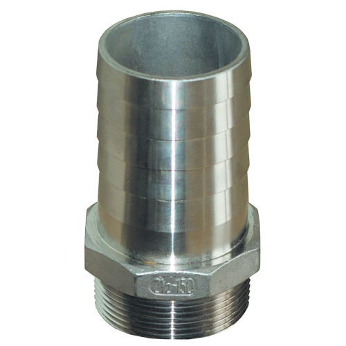 "GROCO 1-1\/2"""" NPT x 1-1\/2"" ID Stainless Steel Pipe to Hose Straight Fitting"
