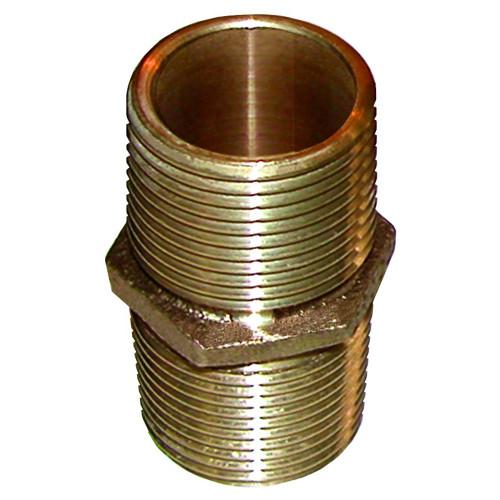 "GROCO Bronze Pipe Nipple - 1-1\/4"" NPT"