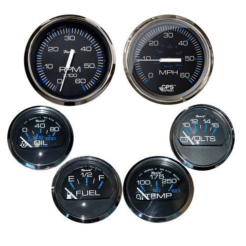 Faria Box Set of 6 Gauges - Speed, Tach, Fuel Level, Voltmeter, Water, Temp  Oil PSI - Chesapeake Black w\/Stainless Steel Bezel