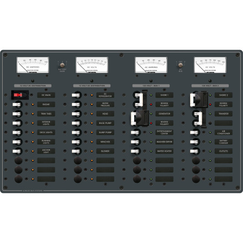 Blue Sea 8086 AC 3 Sources +12 Positions \/ DC Main +19 Position Toggle Circuit Breaker Panel  (White Switches)