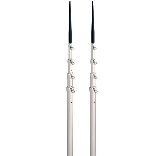 Lee's 16.5' Bright Silver Black Spike Telescopic Poles f\/Sidewinder