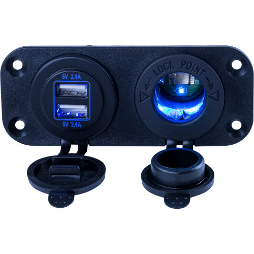 Sea-Dog Double USB  Power Socket Panel