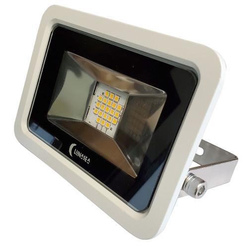 Lunasea 10W Slimline LED Floodlight, 120VAC Only, Cool White, 1200 Lumens, 3 Cord - White Housing