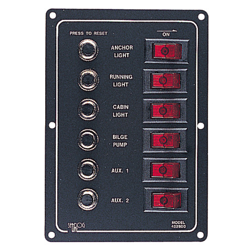 Sea-Dog Aluminum Circuit Breaker Panel - 6 Circuit